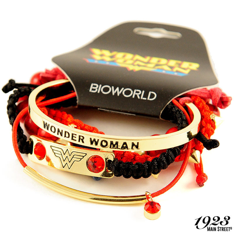 Wonder Woman Bracelets, Arm Party Set of 5