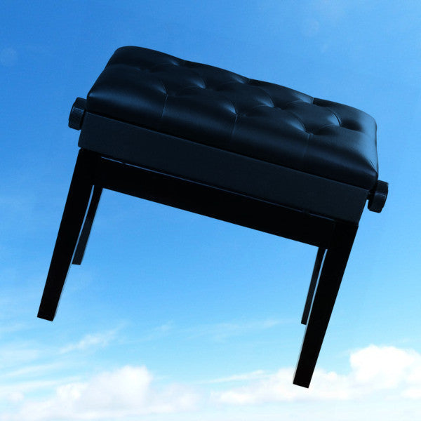 AW Black Adjustable Height Piano Bench PU Padded