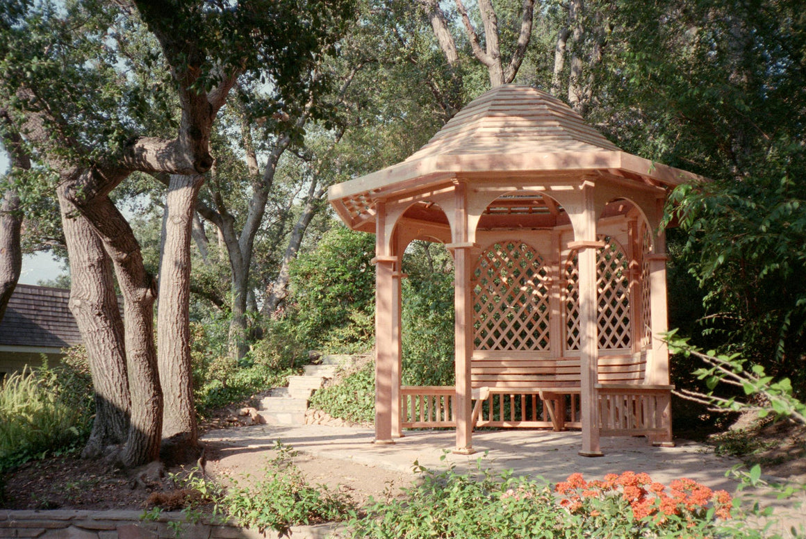 Octagon Gazebo with Type G 1 x 3 Bell Roof, Semi-Circular Arch Panels, 3 Lattice Panels, 5 Railings - SamsGazebos Made to Order