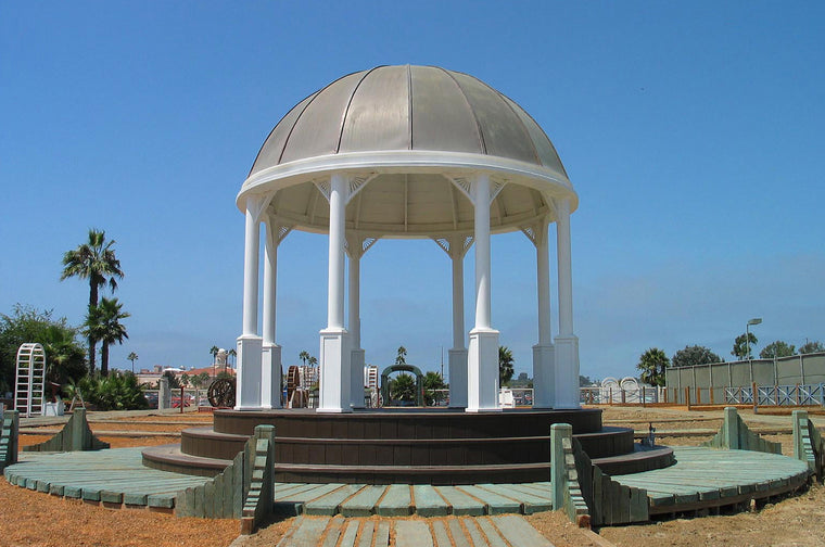 Octagon Gazebo with 16-Sided Copper Dome Roof, Sunburst Corbels, Classic Steel Columns - SamsGazebos Made to Order