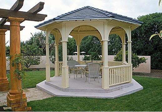 SamsGazebos Octagon Gazebo with 2 X 6 T & G for Tile, Semi-circular Arch Panels, Classic Posts, 5 Railings - SamsGazebos Made to Order