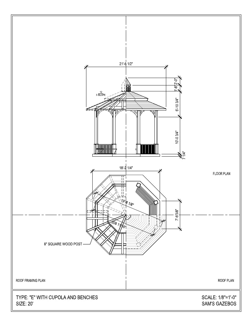 Octagon Gazebo with Pagoda Style Two-Tiered Type E, Composite Shingle Roof, Cupola, Victorian Corbels, Classic Posts, 6 Railings, 20-foot - SamsGazebos Made to Order