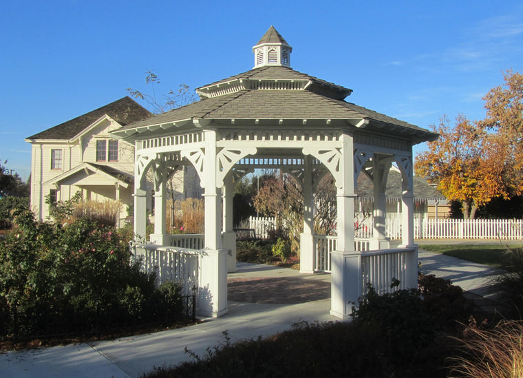Octagon Gazebo with Pagoda Style Two-Tiered Type E, Composite Shingle Roof, Cupola, Victorian Corbels, Classic Posts, 6 Railings, 20-foot