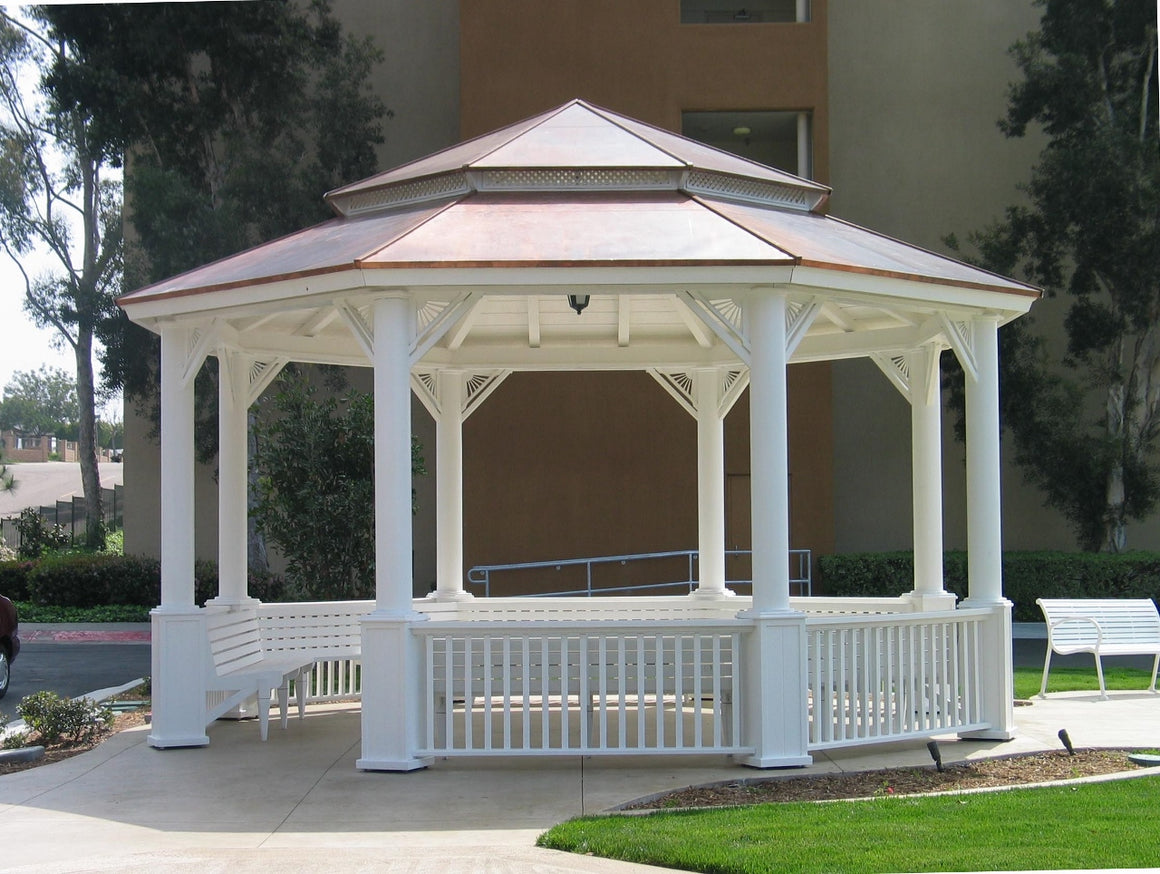 Octagon Gazebo with Copper Two-Tiered Pagoda Roof, Sunburst Corbels, Classic Steel Columns, 6 Railings, 6 Benches, 22-foot