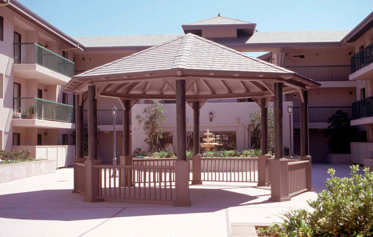 Octagon Gazebo with 2 X 6 T & G for Tile, Classic Steel Columns, Sunburst Corbels, 6 Railings, 24-foot