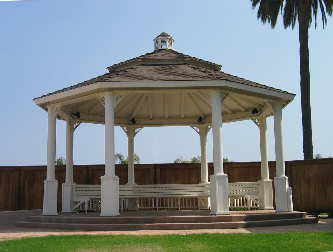 Octagon Gazebo with Cupola, Composite Shingle Roof, Two-Tiered Pagoda, Classic Steel Columns, 5 Railings, 5 Benches, 24-foot - SamsGazebos Made to Order