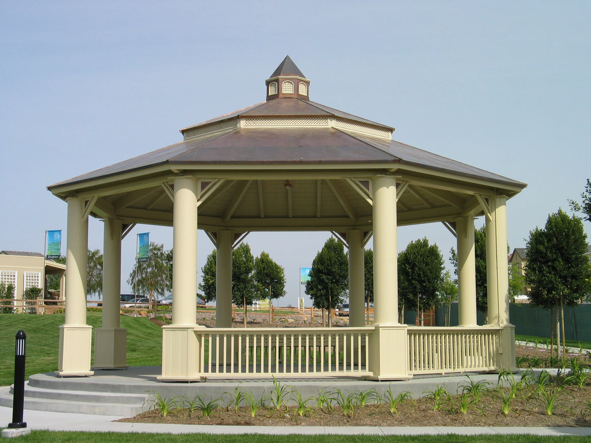 Octagon Gazebo with Copper Two-Tiered Pagoda Roof, Copper Cupola, Plain Corbels, Classic Steel Columns, 5 Railings, 30-foot - SamsGazebos Made to Order