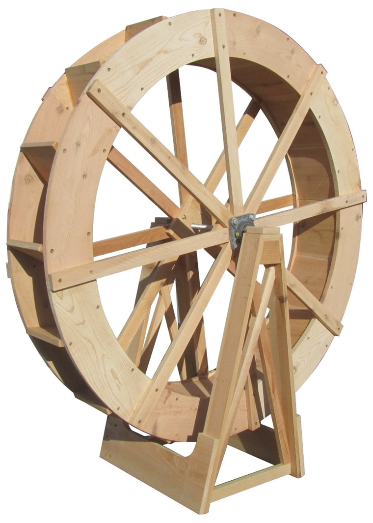 SamsGazebos Wood Water Wheel with Stand, 4-foot, Natural - SamsGazebos Made to Order