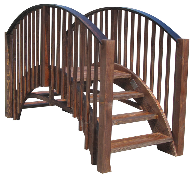 SamsGazebos 8-foot Japanese Imperial Wood Garden Stair Bridge, Brown, Treated - SamsGazebos Made to Order