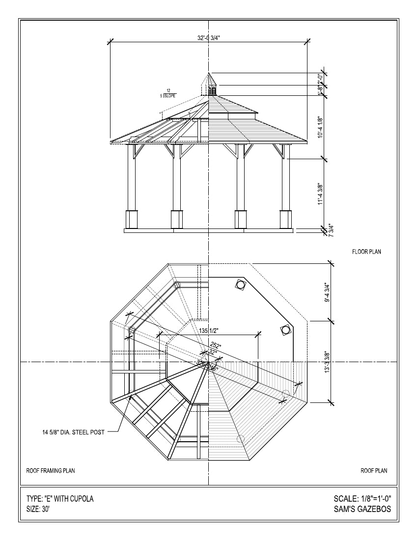 Octagon Gazebo With Copper Two Tiered Pagoda Roof Cupola Schematic Plain Corbels