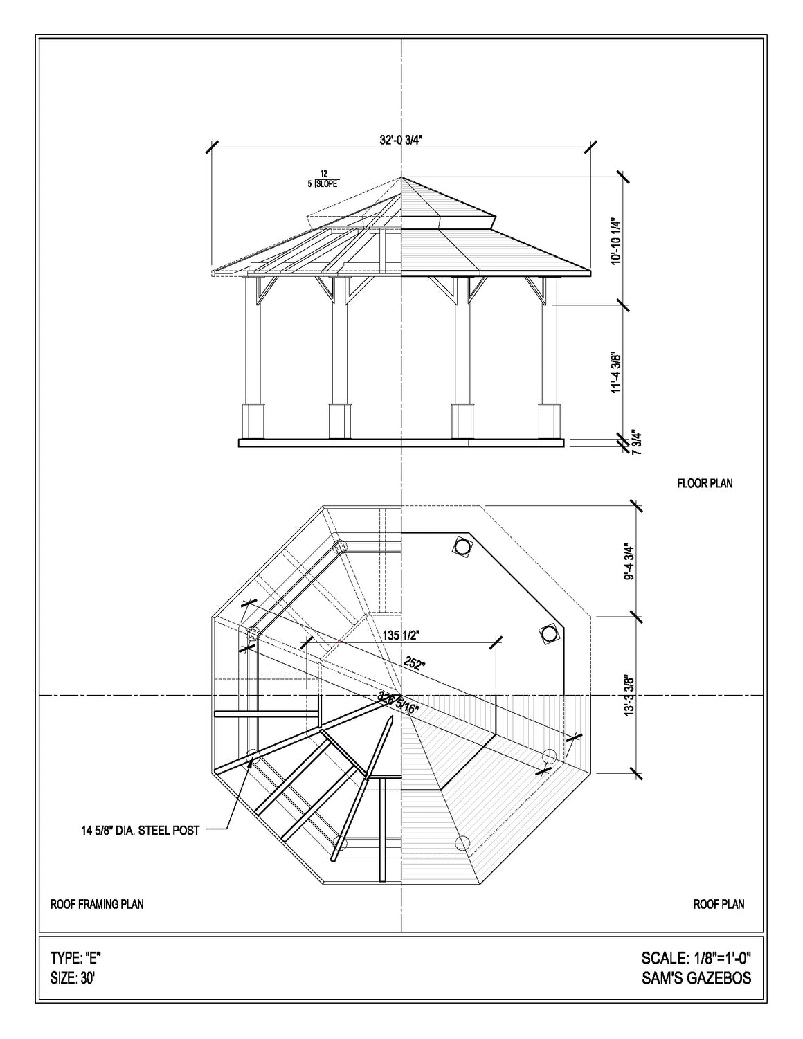 Octagon Gazebo with Copper Two-Tiered Pagoda Roof, Copper Cupola, Plain Corbels, Classic Steel Columns, 5 Railings, 30-foot