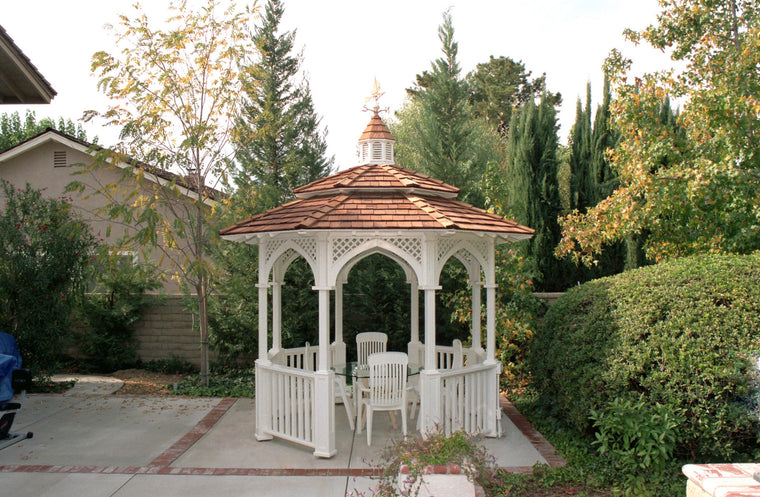 Octagon Gazebo with Cupola, two-tiered type E Shingle Roof, Lattice Arch Panels, Classic Posts, 6 railings, 12 foot - SamsGazebos Made to Order