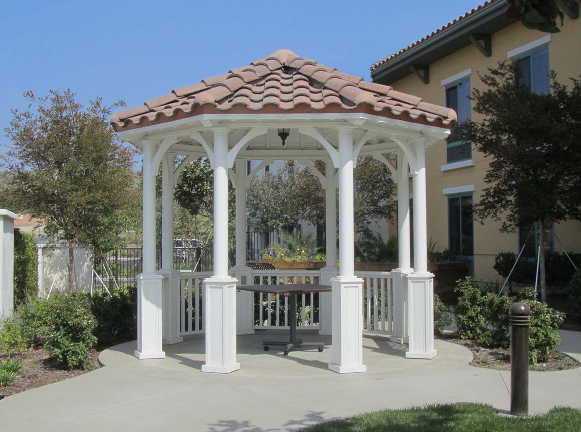 Octagon Gazebo with Single Tiered Type A, 2 x 6 T&G Roof,  Country Corbels, Classic Steel Columns, Five Handrails, 12-foot - SamsGazebos Made to Order