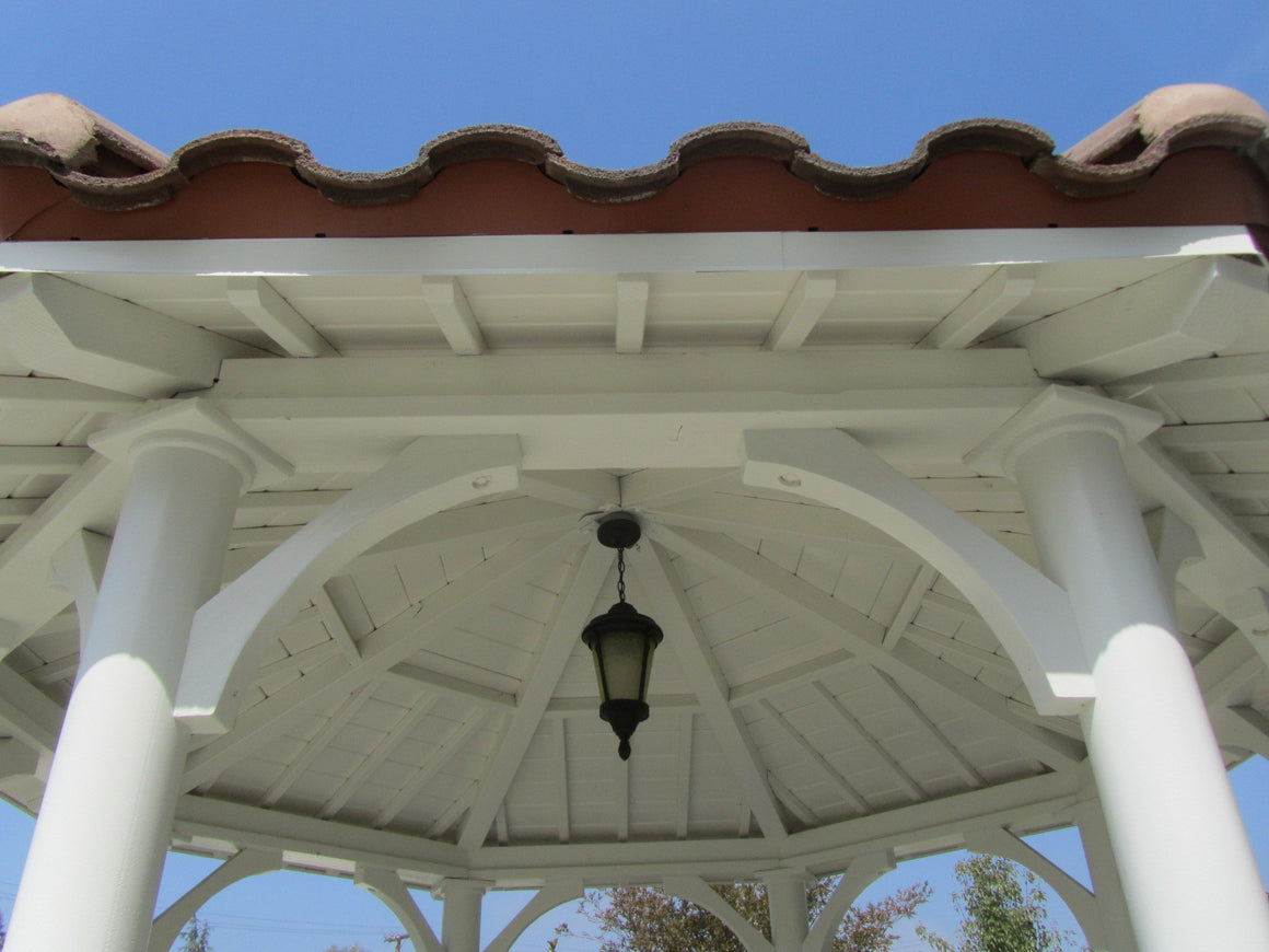 Octagon Gazebos - Octagon Gazebo With Single Tiered Type A, 2 X 6 T&G Roof,  Country Corbels, Classic Steel Columns, Five Handrails, 12-foot