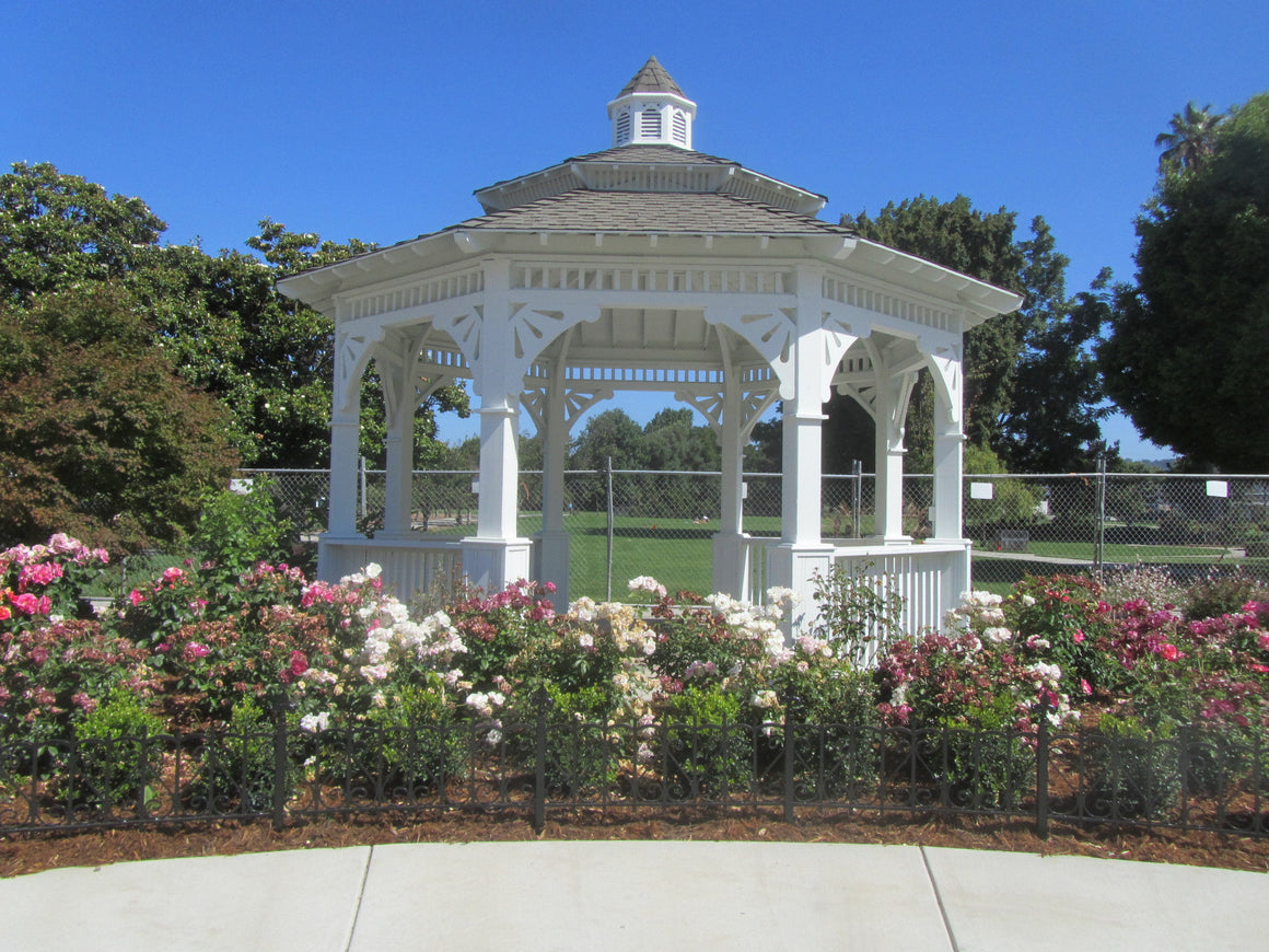 Parks & Recreation - Octagon Gazebo With Pagoda Style Two-Tiered Type E, Composite Shingle Roof, Cupola, Victorian Corbels, Classic Posts, 6 Railings, 20-foot