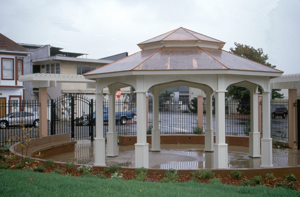 Octagon Gazebo with Type E Pagoda Style Copper Roof, Gothic Arch Panels, Classic Posts, 20-foot - SamsGazebos Made to Order