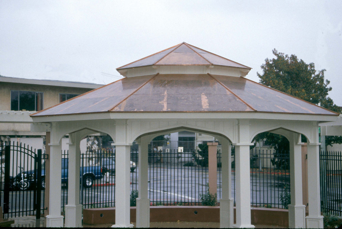 Parks & Recreation - Octagon Gazebo With Type E Pagoda Style Copper Roof, Gothic Arch Panels, Classic Posts, 20-foot