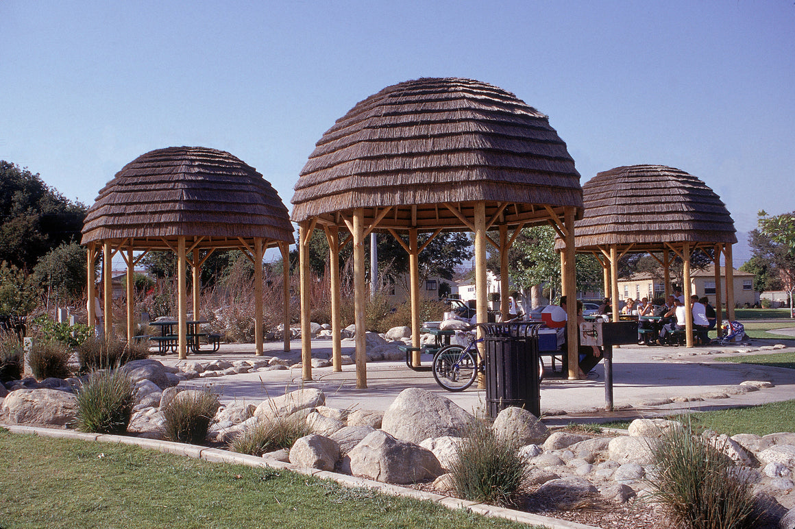 Parks & Recreation - Rustic Octagon Gazebo With Dome Roof, Wood Pole Posts, 16-foot