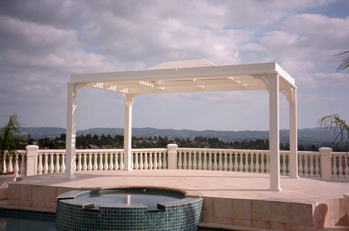 Pavilions - Pavilion Pergola Shade Structure With 1 X 3 Louver Roof