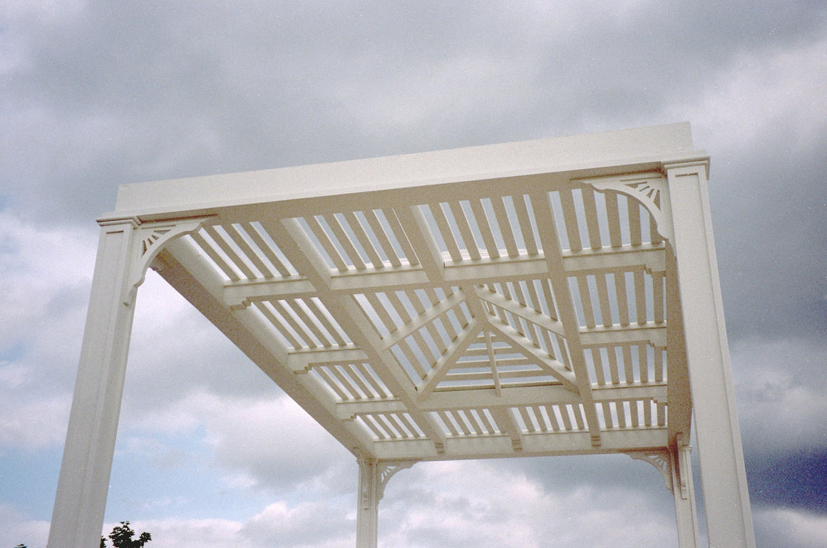 Pavilion Pergola Shade Structure with 1 x 3 Louver Roof - SamsGazebos Made to Order