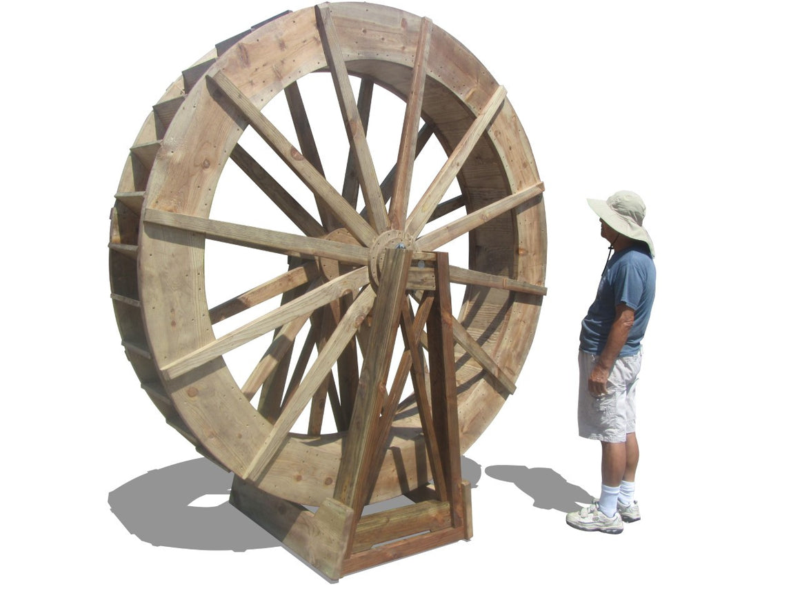 SamsGazebos 8-foot Craftsman Style Free-Standing Wood Water Wheel, Brown, Treated - SamsGazebos Made to Order