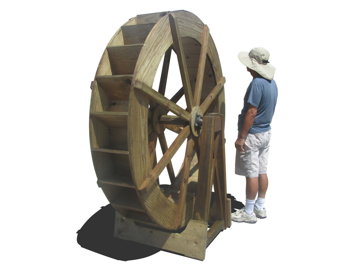 Water Wheels - SamsGazebos 6-foot Craftsman Style Free-Standing Wood Water Wheel, Brown, Treated