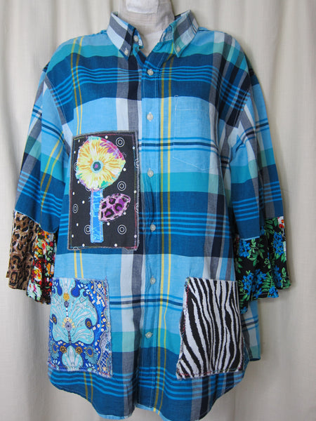Happy Shirt in Blues ~ XLARGE