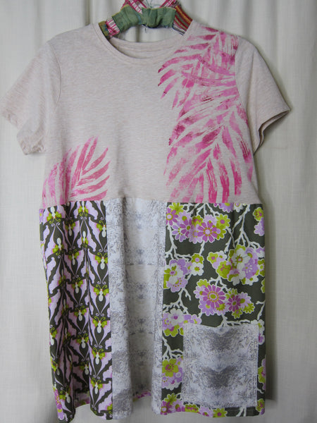 Pink Leaves Empire Top ~ Medium