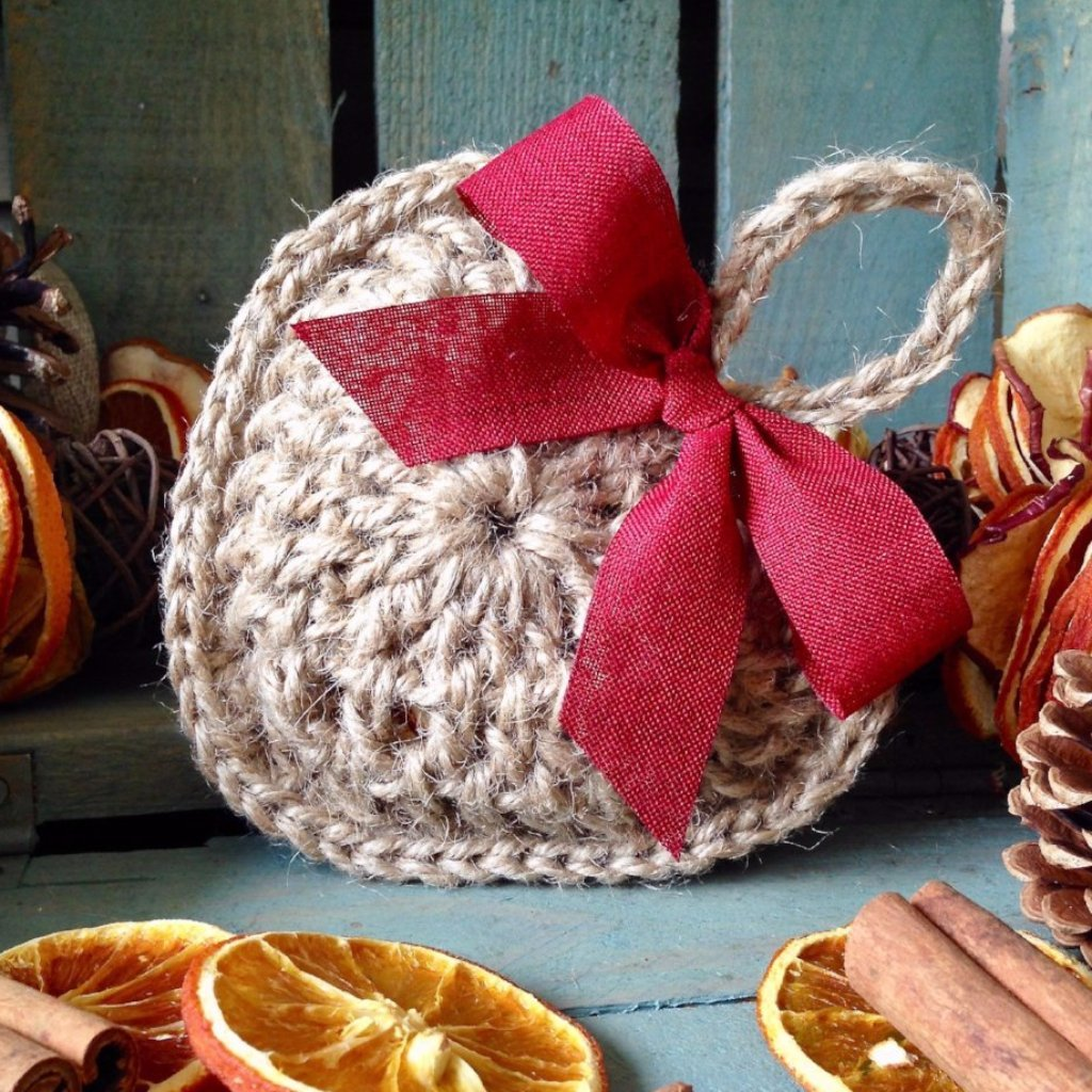 Crocheted Hanging Heart - Dried Orange Filled