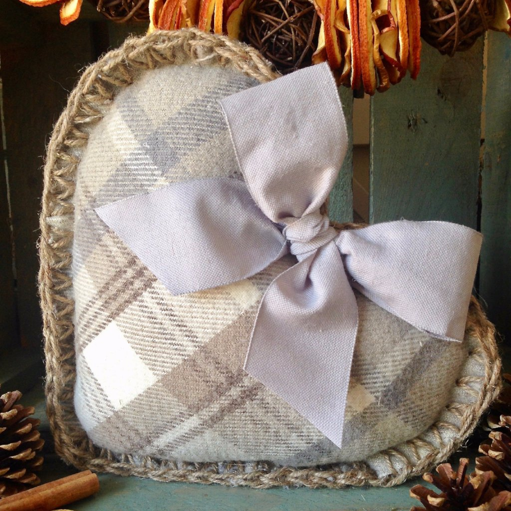Make Your Own Heart Cushion Kit - Grey Check
