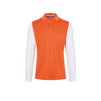 Jakob Slim Fit LS Golf Polo Lava Orange