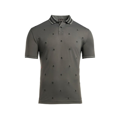 Skull & T's Embroidered Polo Tech Pique Charcoal