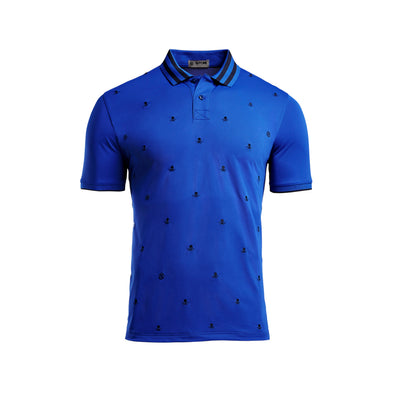 Skull & T's Embroidered Polo Tech Pique Sapphire