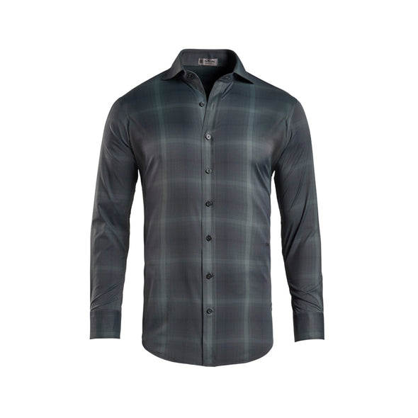 GreenRabbit Golf, G/Fore, Modern Plaid Woven Technical Stretch Nylon Onyx/Charcoal, Shirt - GreenRabbit Golf GOLFFASHION & LIFESTYLE