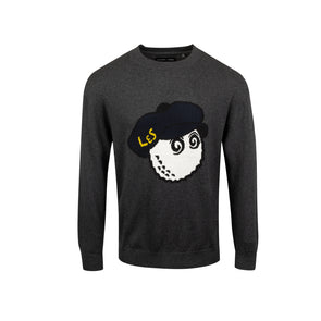 GreenRabbit Golf, Malbon by Lyle & Scott, Malbon x L&S Knitted Crewneck Sweater Charcoal, Sweater - GreenRabbit Golf GOLFFASHION & LIFESTYLE