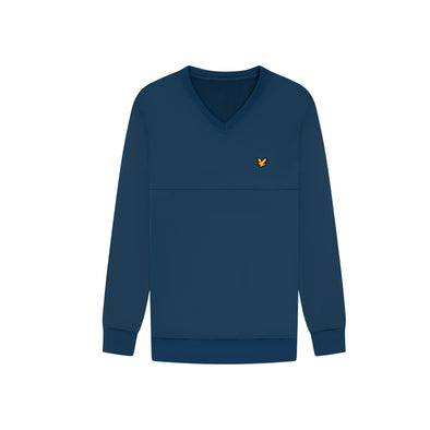 GreenRabbit Golf, Lyle & Scott, V-Neck Colour Block Midlayer Deep Fjord / Lime Green, Sweater - GreenRabbit Golf GOLFFASHION & LIFESTYLE