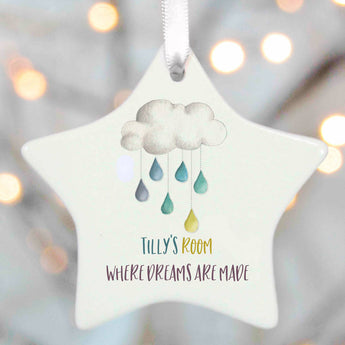 Personalised Cloud and Rain drops Star