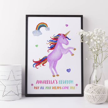 Unicorn Gift Girls Bedroom Print