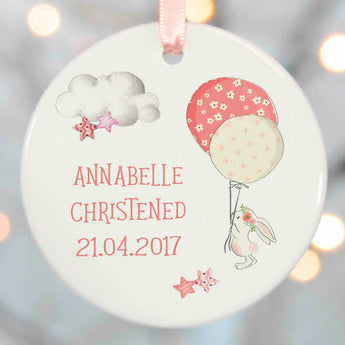 Christening Gifts Girls Boys Rabbit with a balloons in the clouds