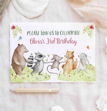 Invitations: Birthday Woodland Theme x10