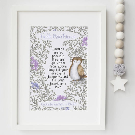 Christening Gift Print Owl Illustration