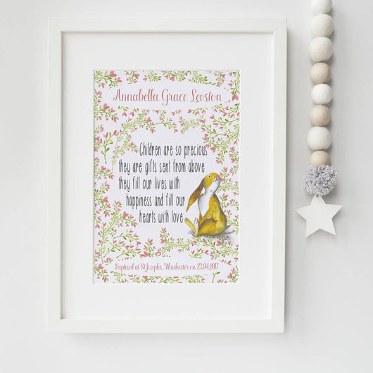 Christening Gifts Girls Boys Print Rabbit