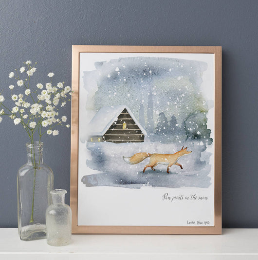 Fox In The Snow Watercolour Print *Limited Edition*