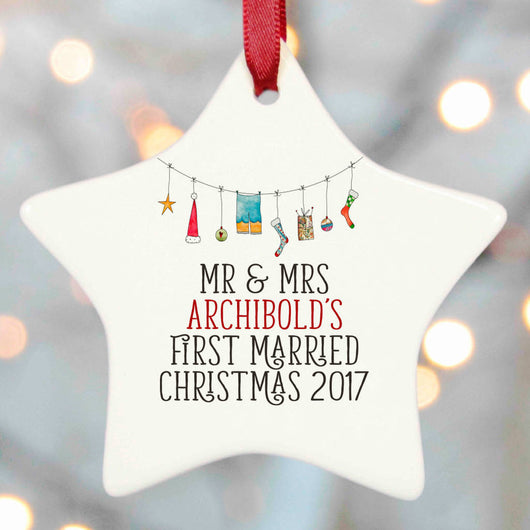 Mr and Mrs First Married Christmas Tree Decorations