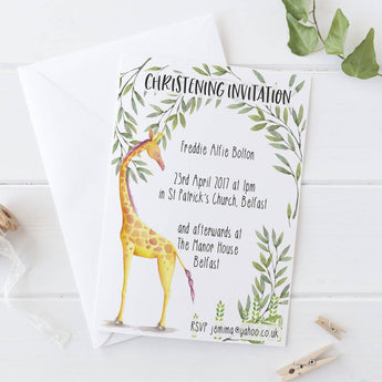 Invitations: Christening  Giraffe Theme x10
