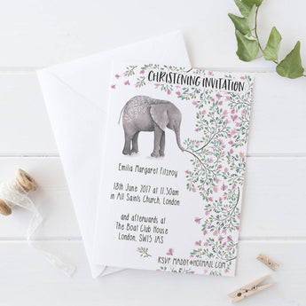 Invitations: Christening  Elephant Theme x10