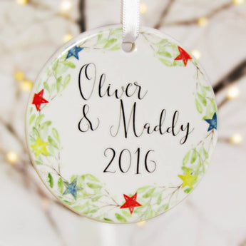 Personalised Christmas Tree Decorations for a couple