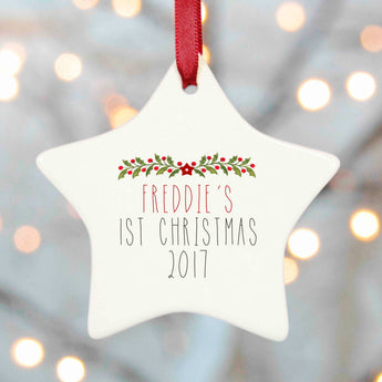 Personalised Tree Decoration Christmas - Holly and Berries