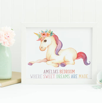 Girls Bedroom Unicorn Print Gift