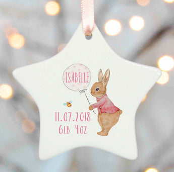 New Baby Girl Gift Rabbit and Balloon